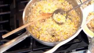 Risotto with lobster mushrooms corn and black truffle oil