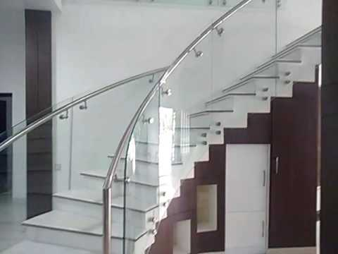 Curved Glass Staircase Handrails Youtube | Curved Glass Stair Railing | Residential Glass | Commercial Glass | Band Glass | Walnut | Frameless Glass