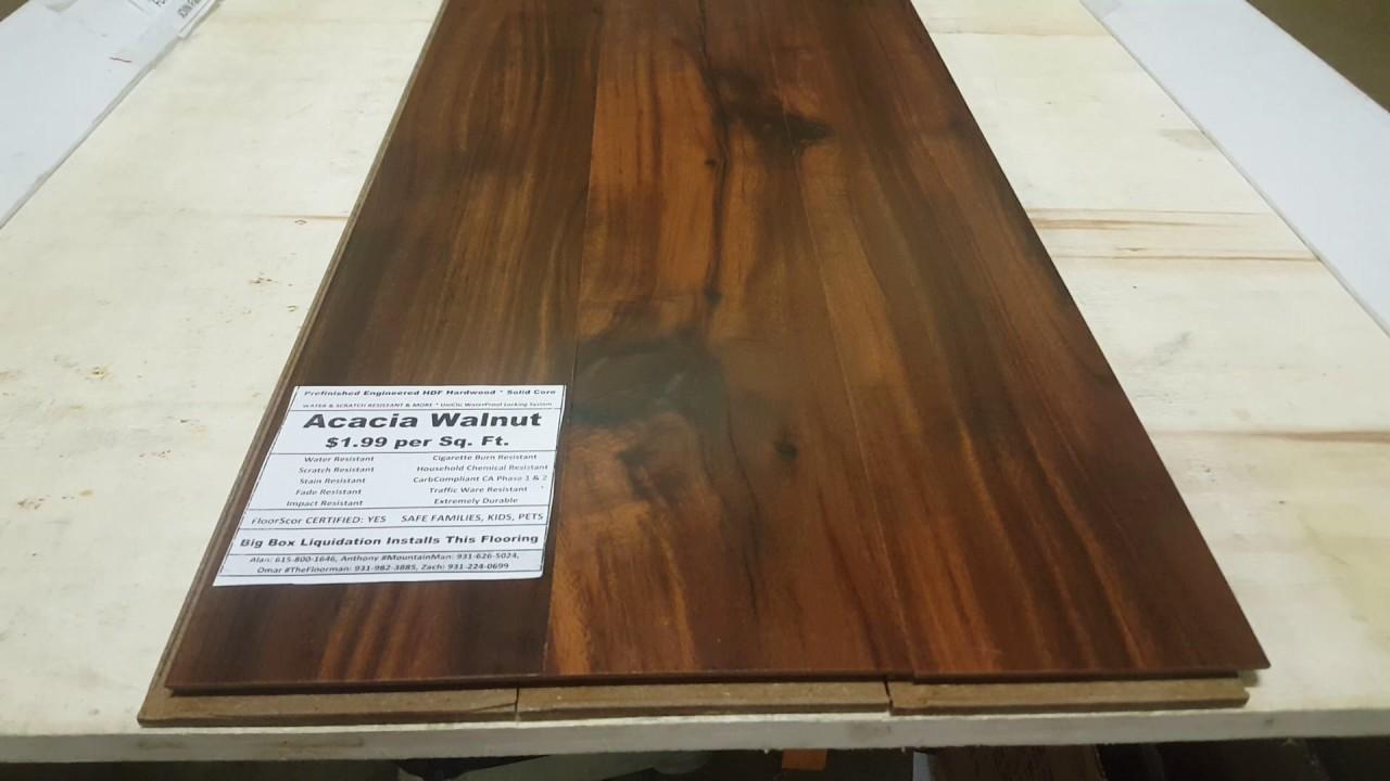 Flooring Acacia Walnut Hdf Hardwood Solid Core 1 2 In Thick Water Resistant Waterproof Locking