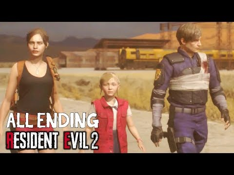Resident Evil 2 Remake 2019 - ALL ENDINGS + TRUE Ending (Leon and Claire Endings)