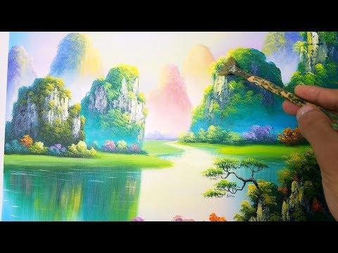 Dạy vẽ tranh phong cảnh sơn thủy, bài 3. (khóa h�c vẽ tranh online miễn phí). Landcape painting.