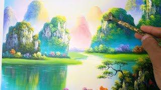 Dạy vẽ tranh phong cảnh sơn thủy. (Học vẽ tranh online miễn phí). Landcape painting. Mỹ Thuật Việt