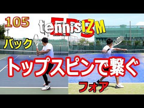 テニスフォアでもダブルバックでもトップスピンで繋ぎ球を打ち勝つtennisism105