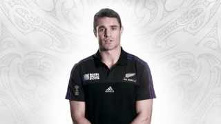Dan Carter talks to fans ahead of the 2015 Rugby World Cup