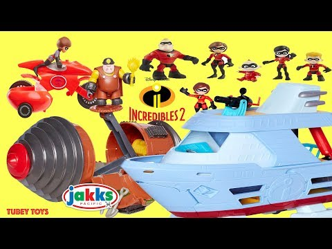 New Disney Pixar Incredibles 2 Toys Huge Haul Poseable Action Figures Villains Tunneler Playsets