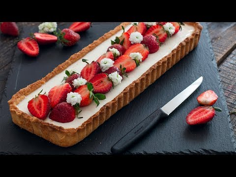 Strawberry Basil Panna Cotta Tart