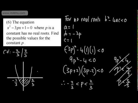 Core 1 - Discriminant 2 - A range of questions on Quadratic ...