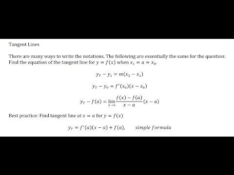Lesson 1 - Different formula notations for the tangent line involving a derivative