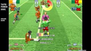 Taito Power Goal / arcade attract mode auto demo / soccer game / 1994