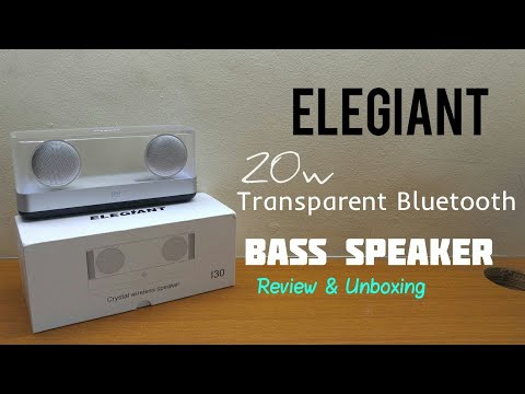 Elegiant I30 Transparent 20w Bluetooth Bass Speaker - Review & Unboxing