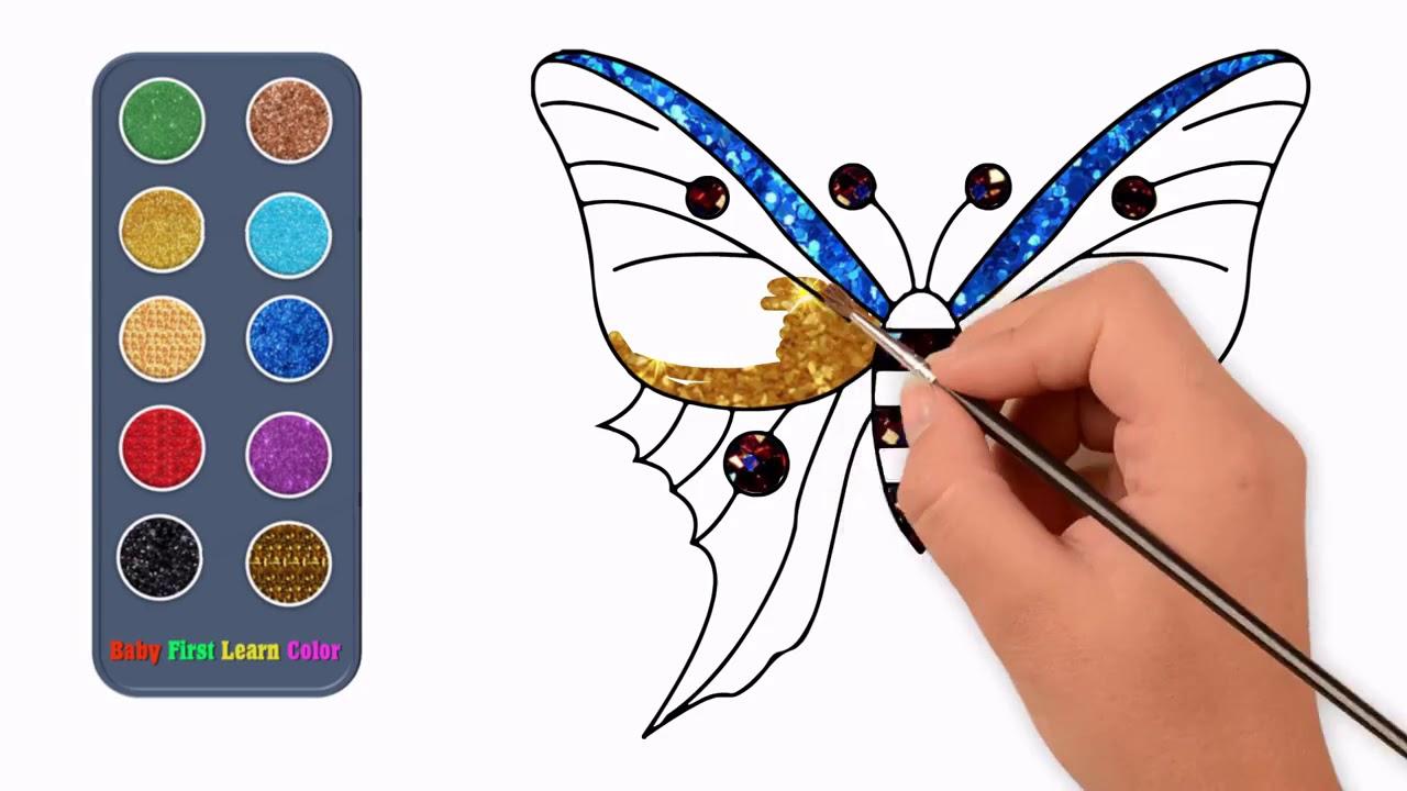 Renkli Piriltili Kelebek Cizim Ve Boyama Youtube
