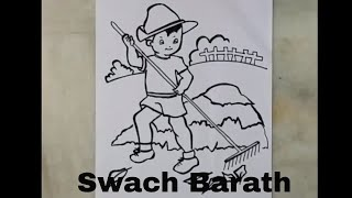 How to draw swachh barath for kids step by step | drawing on clean India | artistica