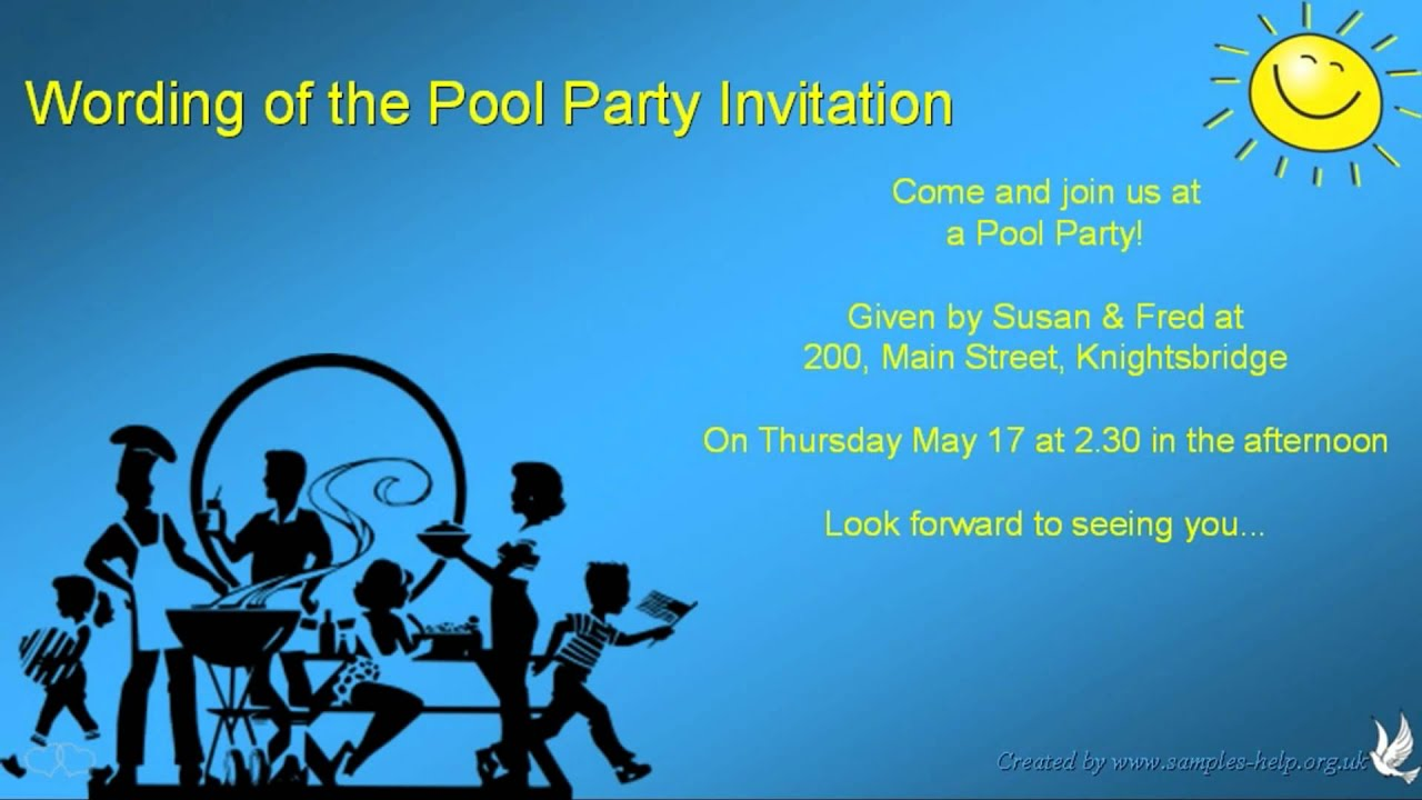 Pool party invitation wording youtube pool party invitation wording stopboris Images