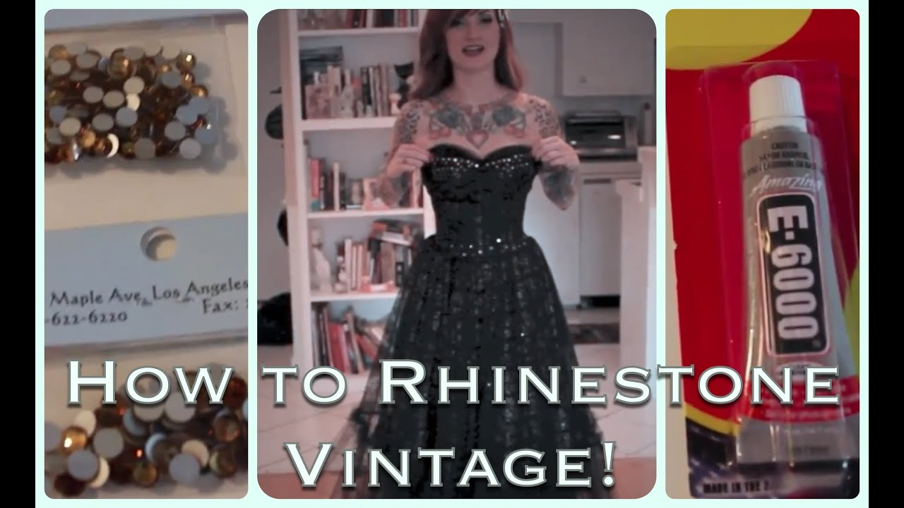 2386996be60 DIY How to add sparkle to a vintage dress with rhinestones by CHERRY  DOLLFACE