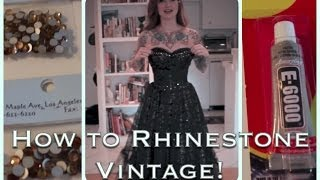 DIY How to add sparkle to a vintage dress with rhinestones by CHERRY DOLLFACE