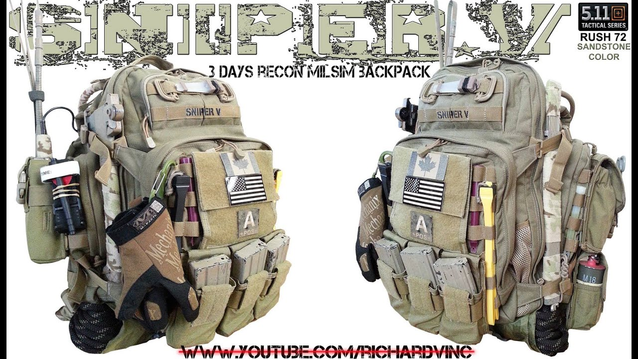MY 5.11 RUSH 72 MILSIM RECON BUSHCRAFT 3-DAY PACK -SNIPER.V - YouTube df00fa5bee1b1