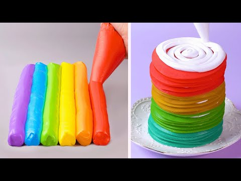 10+ Simple Colorful Cake Decorating Ideas Impress All the Rainbow Cake Lovers | So Yummy Cake