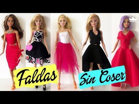 Cómo hacer FALDAS para Barbie ¡Sin coser! Ropa para muñecas