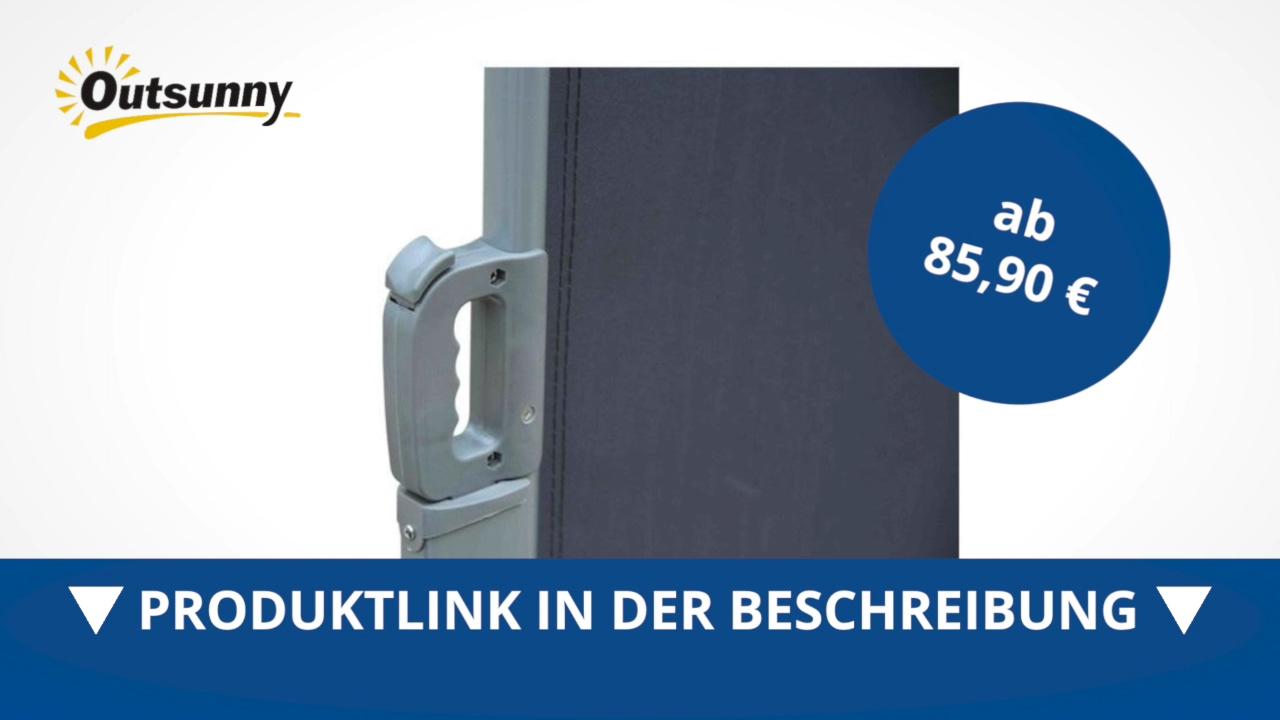 Outsunny Seitenmarkise 1 6m x 3m Grau Markise Sichtschutz
