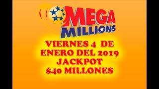 Gambar cover Resultados Mega Millions 4 de Enero 2019 $40 Millones de dolares Powerball en Español
