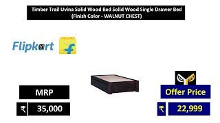 Timber Trail Uvina Solid Wood Bed Solid Wood Single Drawer Bed  (Finish Color - WALNUT CHEST)