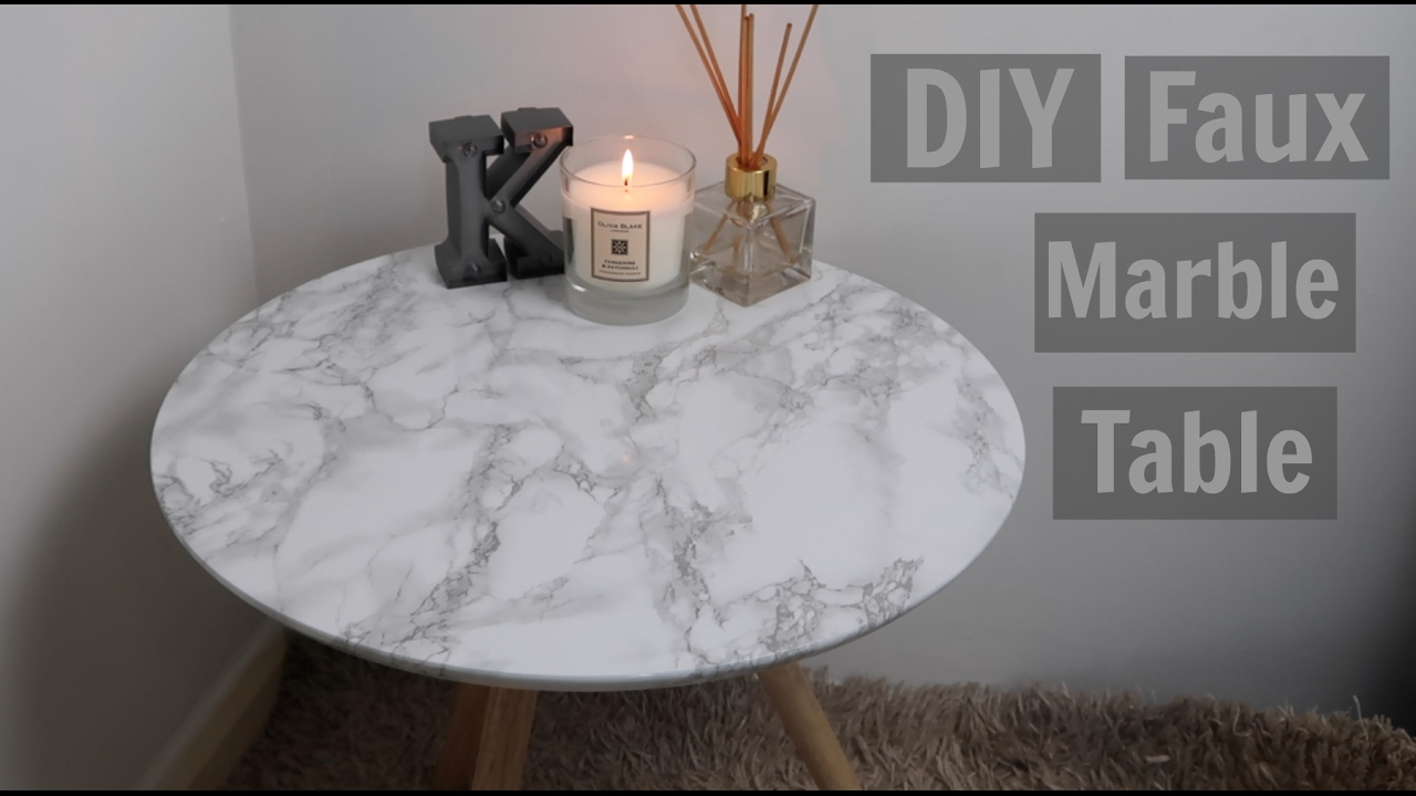 Diy Faux Marble Table Under 5 Kiera Graham Youtube