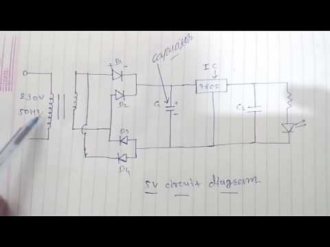 how to make 5 volt power supply circuit on bread board