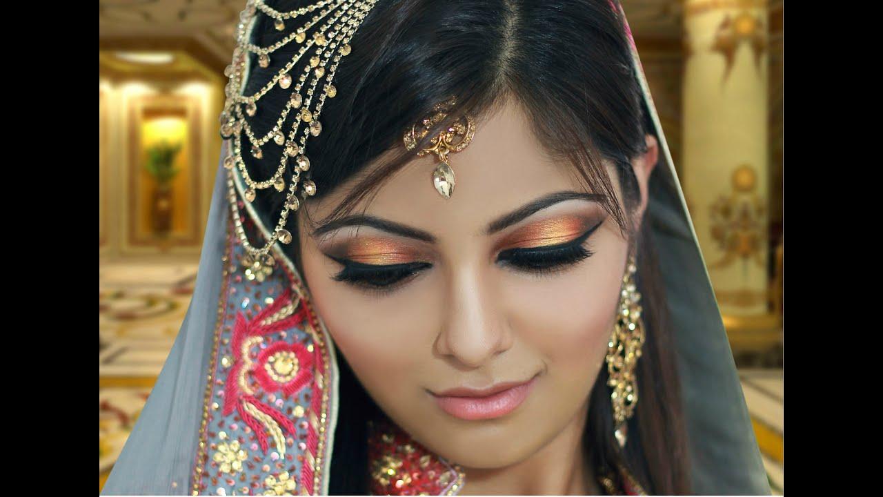 Makeup For Mehndi Function : Gold and peach mehndi makeup tutorial indian bridal asian