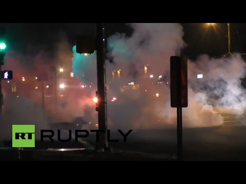 RAW: Ferguson police use smoke bombs on Michael Brown anniversary