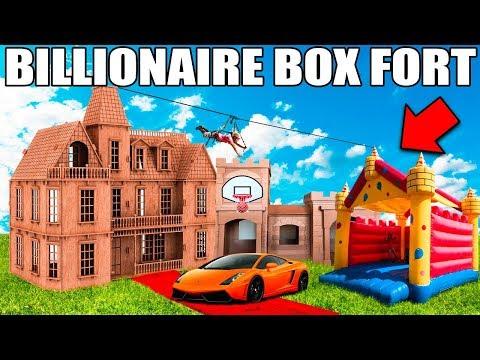 BIGGEST BILLIONAIRE BOX FORT CHALLENGE! 24 Hour: Basketball Court, Jumping Castle, Gaming Setup