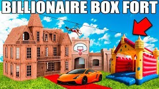 BIGGEST BILLIONAIRE BOX FORT CHALLENGE! 📦💰24 Hour: Basketball Court, Jumping Castle, Gaming Setup thumbnail