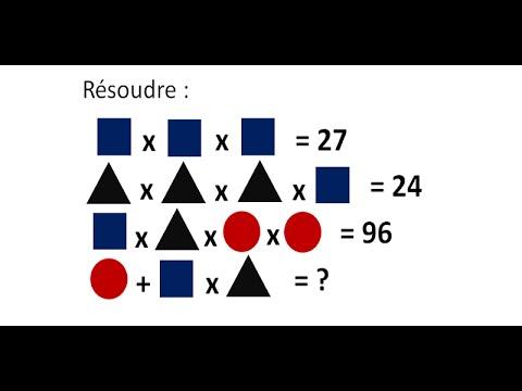 Raisonnement logique. Problème de math. Equation avec des ...