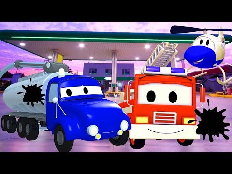 The Car Patrol: Fire Truck and Police Car - The Tanker Is Out Of Gas in Car City | Trucks cartoons