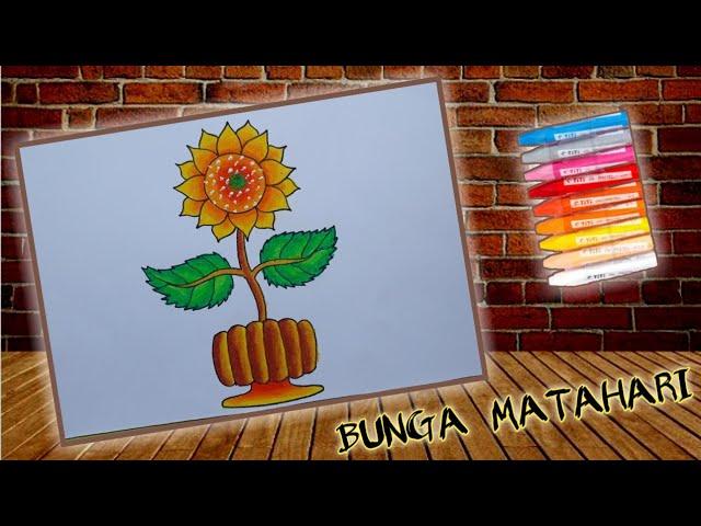Cara menggambar Bunga Matahari, Gradasi warna oil pastel #1