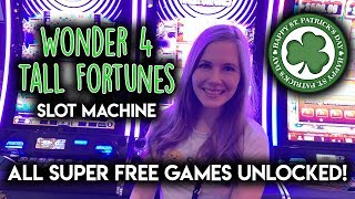 SUPER FREE GAMES! Wonder 4 Tall Fortunes LepreCoins Slot Machine! All The Way to The Top!!