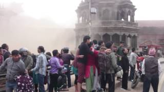 Inside the big Earthquake in Kathmandu Nepal, Patan Durbar Square (25.04.2015)