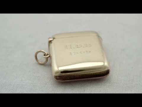 9ct Yellow Gold & Rose Gold Vesta Case - Antique Edwardian - AC Silver (A7334)