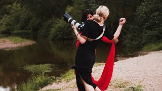 Maternity Photo Session Outdoor with Beautiful Pregnancy Dresses behind the scenes