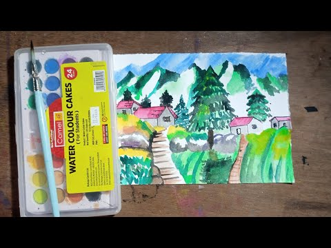 Beautiful scenery drawing with watercolor for beginners,  step by step, how to scenery drawing