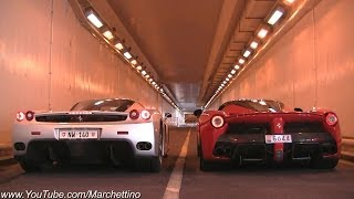LaFerrari vs Ferrari Enzo INSANE Rev Battle!