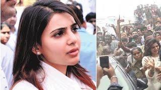 Samantha Car Damaged at Madrai Function - Police Lathi Charge