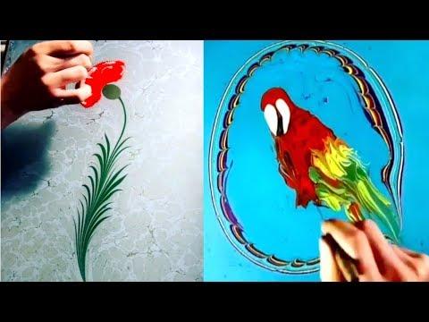 Relaxing Turkish Marbling Art Compilation | Paper Marbling Techniques | Amazing Ebru Art