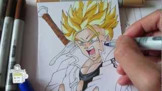 How to draw Future Trunks Super Saiyan SSJ 未来のトランクス