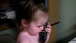Funny Baby talks on phone