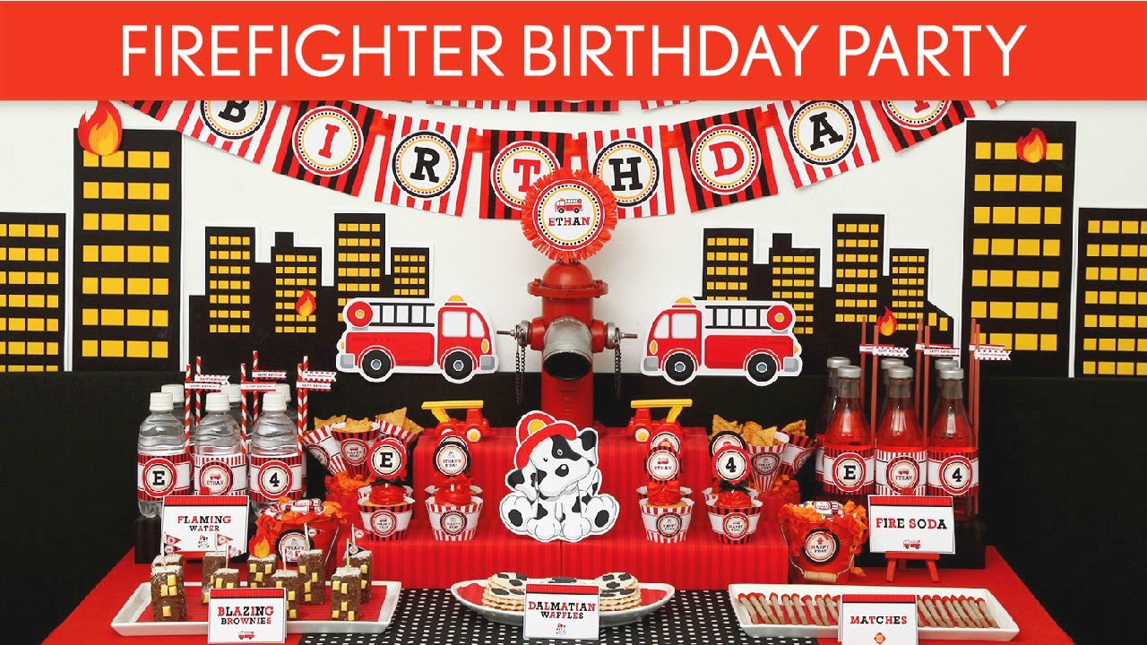Firefighter Birthday Party Ideas Firefighter B24 Youtube