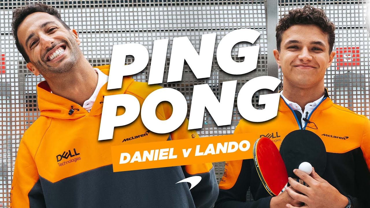Daniel Ricciardo and Lando Norris attempt the ping pong challenge