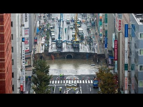 Sinkhole Swallows a Road in Southern Japan