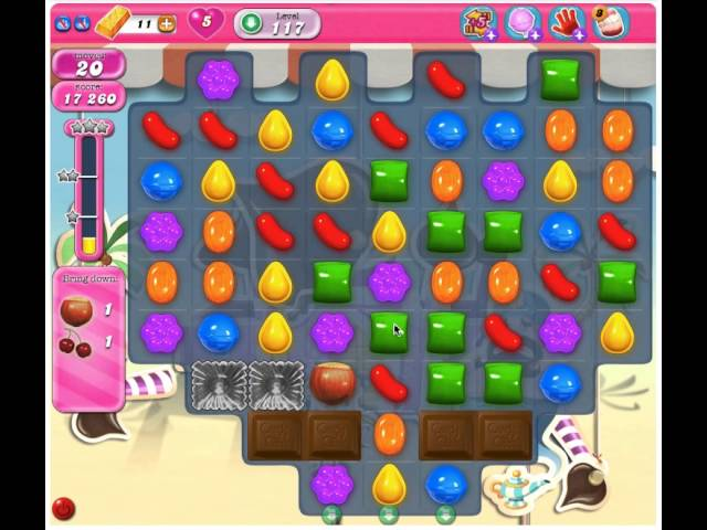 Candy Crush Saga Level 117 - 2 Stars No Boosters Travel Video