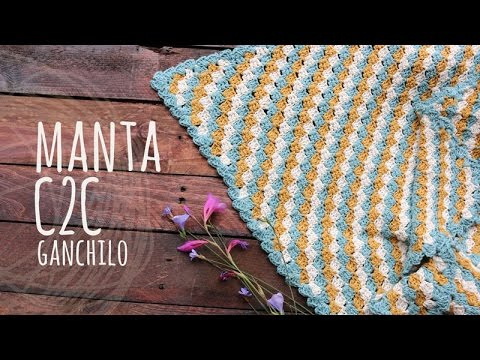 Tutorial Manta o Cobija Bebé C2C Ganchillo | Crochet - YouTube