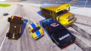 A BUS IN A NASCAR RACE?! DESTRUCTION AT TALLADEGA! - Next Car Game Wreckfest Car Mods